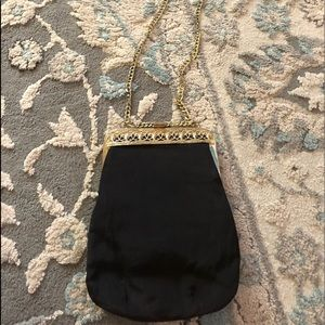 Vintage black with gold tone chain purse